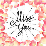 Vintage watercolor greeting card with floral petals. Miss You with place for your text. Royalty Free Stock Image