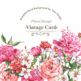 Vintage Watercolor Greeting Card With Blooming Stock Photo