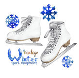 Vintage watercolor ice skates Royalty Free Stock Image
