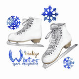 Vintage watercolor ice skates Royalty Free Stock Photography