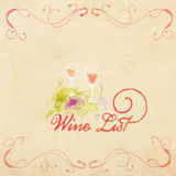 Vintage watercolor menu design, wine list simple menu design Stock Image