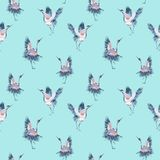Watercolor seamless pattern with crane