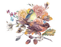 Vintage watercolor pair of birds with autumn bouquet Royalty Free Stock Photo