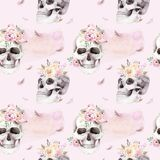 Vintage watercolor patterns with skull and roses, wildflowers, Hand drawn illustration in boho style. Floral skull stock illustration