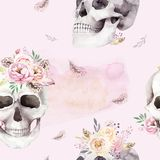 Vintage watercolor patterns with skull and roses, wildflowers, Hand drawn illustration in boho style. Floral skull Stock Image