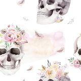 Vintage watercolor patterns with skull and roses, wildflowers, Hand drawn illustration in boho style. Floral skull Stock Images