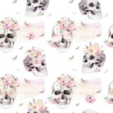 Vintage watercolor patterns with skull and roses, wildflowers, Hand drawn illustration in boho style. Floral skull Stock Photos