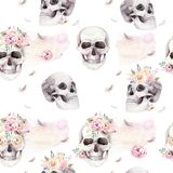 Vintage watercolor patterns with skull and roses, wildflowers, Hand drawn illustration in boho style. Floral skull Stock Photography