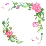 Vintage Watercolor Rose Corners Stock Image