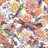 Vintage watercolor seamless pattern with birds and autumn bouque Royalty Free Stock Image