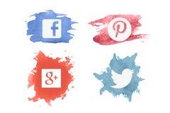 Vintage Watercolor Social Media Logos Royalty Free Stock Images