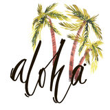 Vintage watercolor summer aloha print with typography design, palm trees and lettering. Tropical set, fashion , T-shirt Royalty Free Stock Photos