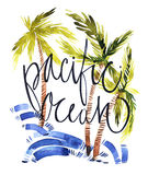 Vintage watercolor summer Pacific ocean print with typography design, palm trees and lettering. Tropical set, fashion Royalty Free Stock Image