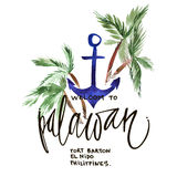 Vintage watercolor summer palawan print with typography design, palm trees and lettering. Tropical set, fashion , T Royalty Free Stock Photo