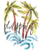 Vintage watercolor summer Philippines print with typography design, palm trees and lettering. Tropical set, fashion , T Royalty Free Stock Photography