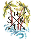 Vintage watercolor summer surf print with typography design, palm trees, waves and lettering. Tropical set, fashion , T Stock Images