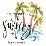 Vintage watercolor summer surfing print with typography design, palm trees, waves and lettering. Tropical set, fashion Royalty Free Stock Image