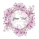 Vintage watercolor vector floral card with lilac. Romantic wedding background with round frame. Natural design. Vintage watercolor vector floral card with lilac Royalty Free Stock Image