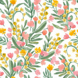 Vintage Watercolor Wallpaper of hand drawn Flowers and Leaf. Stock Photo