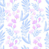Vintage Watercolor Wallpaper of hand drawn Flowers Stock Photo