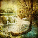 Vintage waterfall. Pictorial scene with watrefall - picture in retro style
