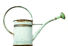 Vintage watering can. Old metal watering- can on white Royalty Free Stock Images