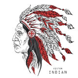 Vintage WaterфMan in the Native American Indian chief. Black roach. Indian fecolor lily. Vector Illustration Royalty Free Stock Image