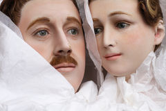 Vintage 1920 wax mannequin's heads Royalty Free Stock Images