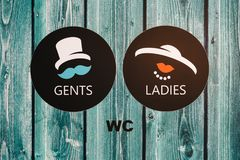 Vintage wc signs on wooden green door Royalty Free Stock Photography