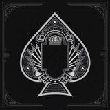 Vintage weapon and arrows with frame in the middle of ace of spades form. Military design playing card. Element white on black royalty free illustration
