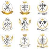 Vintage Weapon Emblems set. Heraldic coat of arms decorative emb Stock Image