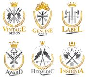 Vintage Weapon Emblems set. Heraldic Coat of Arms, vintage vector emblems collection stock illustration