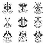 Vintage Weapon Emblems set. Heraldic signs vector vintage elemen Royalty Free Stock Images