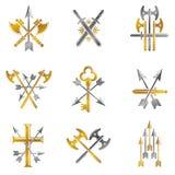 Vintage Weapon Emblems set. Vintage vector design elements colle Royalty Free Stock Photos