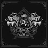 Vintage weapon and flags with wreath inside ace of spades form. Military design playing card element. White on black royalty free illustration