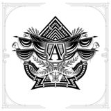Vintage weapon and flags with wreath inside ace of spades form. Military design playing card. Element black on white stock illustration