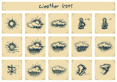 Vintage weather icons. Vector drawing of weather icons stylized as engraving. Text written by hand Royalty Free Illustration