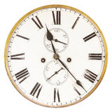 Vintage weathered ancient clock. Isolated on a white background stock image
