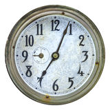 Vintage weathered clock face isolated on white Stock Photo