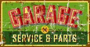 Free Vintage Weathered Grungy Style Garage Sign, Vector Illustration Stock Photography - 153798512