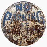 Vintage Weathered NO PARKING Sign Stock Photo