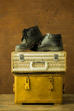 Vintage weave baggage and shose Stock Photo