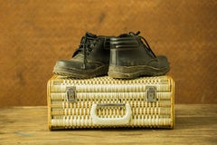 Vintage weave baggage and shose Stock Image