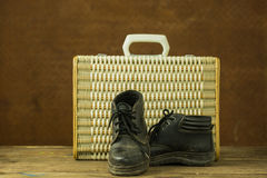 Vintage weave baggage and shose Royalty Free Stock Photography