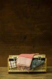 Vintage weave baggage Stock Photos