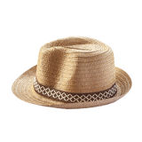 Vintage weave hat. Vintage weave hat with brim and ribbon isolated on white background Royalty Free Stock Images