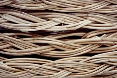 Vintage weave wicker basket close-up royalty free stock photos