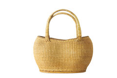Vintage weave wicker basket isolated on white . Stock Image