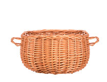 Vintage weave wicker basket isolated Royalty Free Stock Images