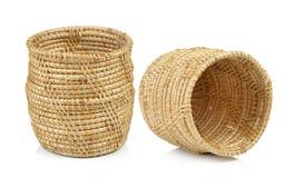 Vintage weave wicker basket isolated on white background Stock Image
